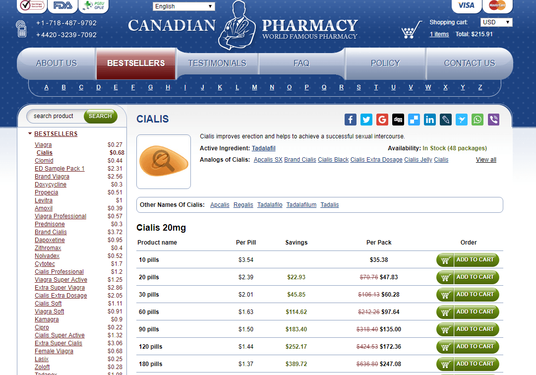 Cialis 20 mg by Online Pills Pharmacy